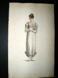Ackermann 1814 Hand Col Regency Fashion Print. Evening Dress 12-10